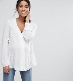 Блузка с оборкой по краю ASOS Maternity TALL - Белый