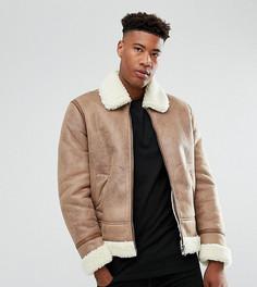 Бежевая куртка с искусственной овечьей шерстью ASOS TALL - Светло-серый