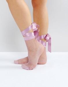 Сетчатые носки с завязкой на бант ASOS - Розовый