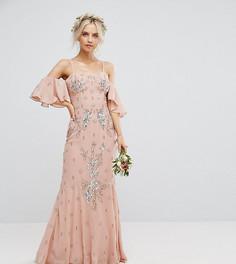 Платье макси с топом-корсетом, открытыми плечами и годе Maya Petite - Розовый
