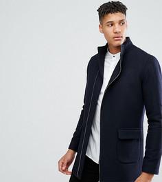 Пальто с асимметричным воротником-стойкой Noak TALL - Темно-синий