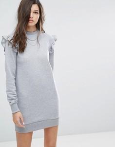 Трикотажное платье с рюшами Uncivilised - Серый