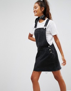 Платье-комбинезон из черного выбеленного денима ASOS - Черный
