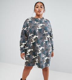 Трикотажное платье с камуфляжным принтом ASOS CURVE - Мульти