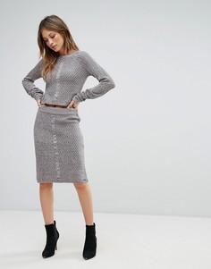Облегающая юбка фактурной вязки Bellfield Sanna - Серый