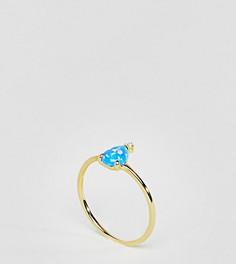 Позолоченное серебряное кольцо с камнем ASOS - Золотой