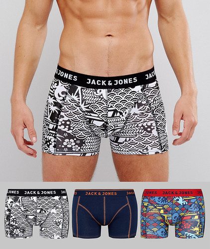 Набор из 3 боксеров-брифов с принтом в стиле граффити Jack & Jones - Мульти