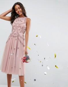 Приталенное платье миди с открытой спиной и отделкой бисером ASOS WEDDING - Розовый