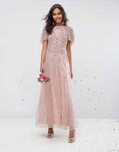 Декорированное платье макси с рукавами клеш ASOS WEDDING - Розовый