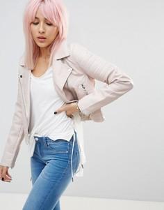 Полиуретановая байкерская куртка со стегаными рукавами Blank NYC Gumdrop - Белый