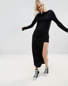 Вязаное платье макси с добавлением шерсти Noisy May Molde - Черный