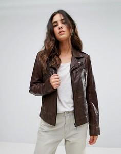 Длинная байкерская куртка Barneys Originals - Коричневый