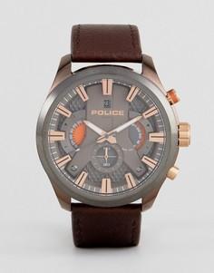 Часы с коричневым ремешком Police Mens Cyclone - Коричневый