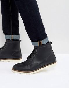 Черные кожаные ботинки на шнуровке с белой подошвой ASOS - Черный