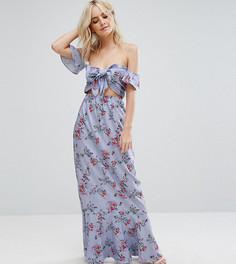 Платье макси с открытыми плечами и завязкой Boohoo Petite - Фиолетовый