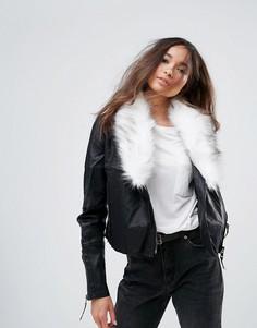 Байкерская куртка из полиуретана с воротником из искусственного меха Urban Bliss - Черный