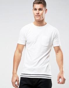 Длинная футболка со вставкой в полоску на кромке Tom Tailor - Белый