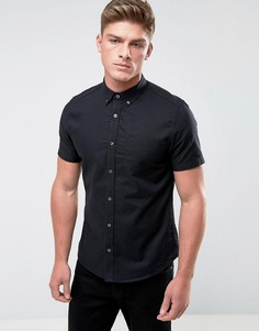 Оксфордская приталенная рубашка с короткими рукавами Burton Menswear - Черный