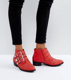 Ботильоны с заклепками в стиле вестерн Missguided - Красный