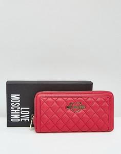Стеганый кошелек с логотипом Love Moschino - Розовый
