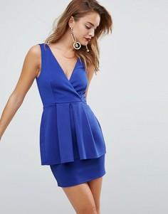 Платье мини с баской и глубоким вырезом ASOS - Синий