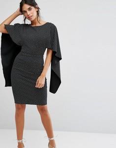 Платье миди в горошек с рукавами-оборками City Goddess - Мульти