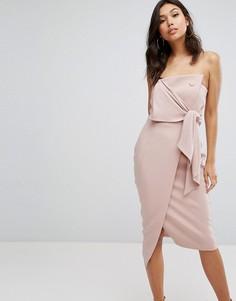 Структурированное платье-бандо с завязкой Misha Collection - Розовый