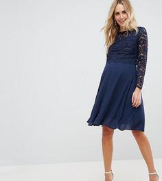 Платье миди с кружевным верхним слоем Queen Bee Maternity - Темно-синий