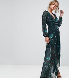 Платье макси с запахом и длинными рукавами Hope & Ivy - Зеленый