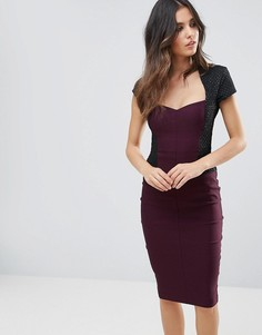 Платье-футляр миди с короткими рукавами Vesper - Фиолетовый