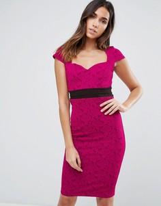 Платье-футляр с контрастным поясом Vesper - Розовый