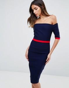 Платье-футляр с открытыми плечами и контрастной окантовкой Vesper - Темно-синий