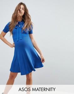 Чайное платье мини в рубчик с завязкой ASOS Maternity - Темно-синий