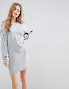 Трикотажное платье-джемпер с объемными рукавами ASOS - Серый