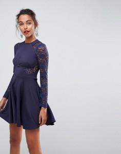 Короткое приталенное платье с кружевными рукавами ASOS Premium - Темно-синий