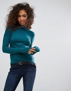 Топ с отворачивающимся воротником Esprit - Зеленый