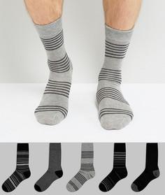 Набор из 5 пар серых носков в полоску Burton Menswear - Серый