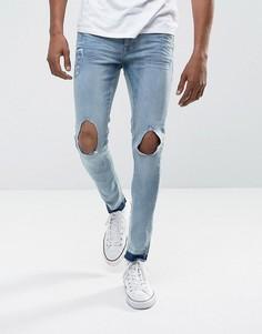 Рваные джинсы скинни с необработанными краями Brave Soul - Синий