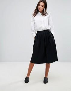 Плиссированная юбка миди с добавлением шерсти YMC - Черный