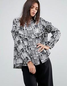 Рубашка в стиле пэчворк с оборкой YMC - Серый