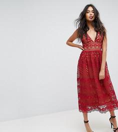 Кружевное платье миди Boohoo - Красный