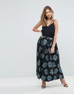 Плиссированная жаккардовая юбка с цветочным узором Closet - Мульти