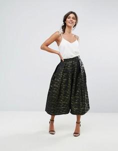 Плиссированная юбка с камуфляжным принтом Closet - Зеленый