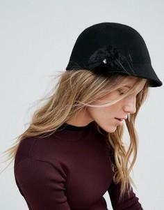 Фетровая шляпа с помпоном из искусственного меха Ted Baker - Черный