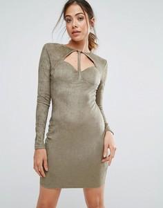 Замшевое облегающее платье цвета хаки AX Paris - Зеленый