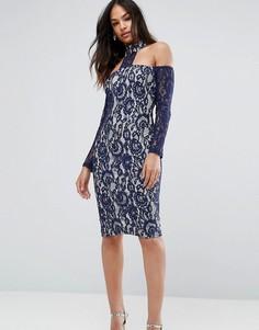 Темно-синее платье миди со спущенными плечами и длинными рукавами Ax Paris - Мульти