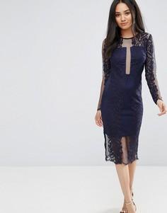Темно-синее кружевное платье миди с длинными рукавами AX Paris - Темно-синий