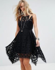 Кружевное платье с драпированным подолом Free People Just Like Honey - Черный