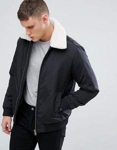 Куртка со съемным воротником из искусственного меха Selected Homme - Черный