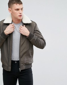 Куртка со съемным воротником из искусственного меха Selected Homme - Зеленый